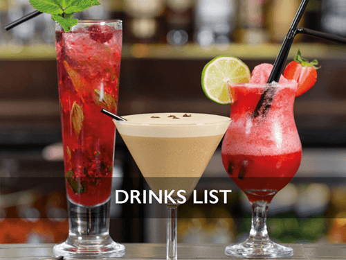 our exquisite drinks list at the castle rooms in uddingston